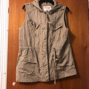 Studded Pocket Vest with Hood